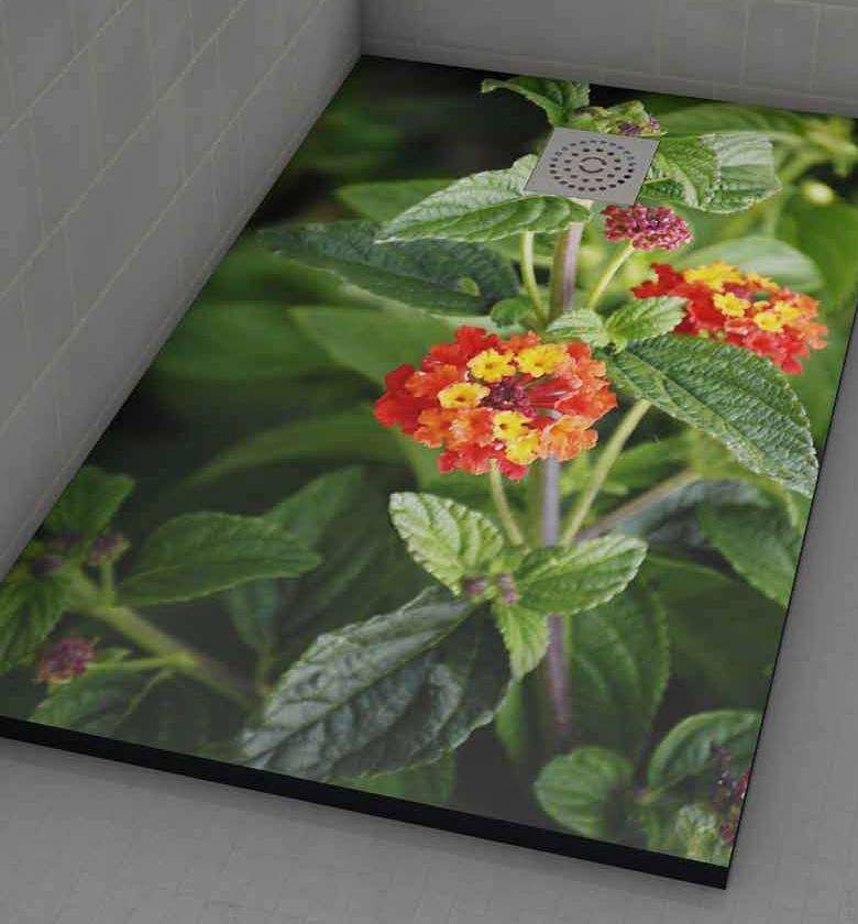 Azulejos Gres Porcelanico Plato de ducha personalizado flores plato de ducha de resina